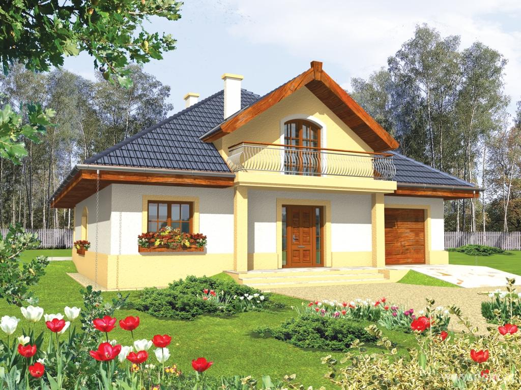 Проект одноэтажного дома с балконом..
